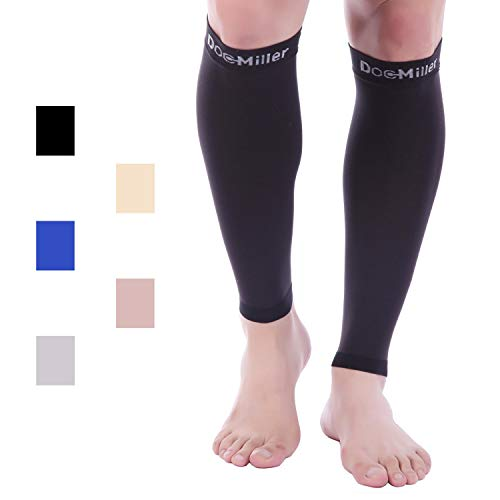 Doc Miller Premium Calf Compression Sleeve 1 Pair 15-20 mmHg Firm Calf Support Multiple Colors Graduated Pressure for Sports Running Muscle Recovery Shin Splints Varicose Veins (Black, Large)