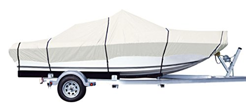"iCOVER Trailerable Boat Cover,Water Proof Heavy Duty,Fits V-HULL,TRI-HULL,Fish&Ski,Pro-Style,Fishing Boat,Runabout,Bass Boat,up to 14ft-16ft Long and 68""wide,Grey color,B6301A (V-hull Cover Boat)"