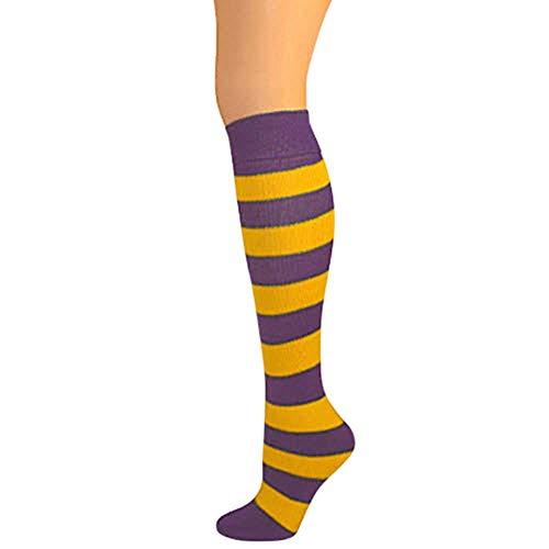 AJs Girls Striped Thick Knee Socks - Purple/Gold Yellow, Fits 8-12 years old, No Heel Socks