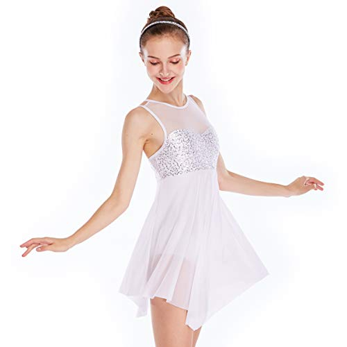 MiDee Lyrical Dress Dance CostumeIllusion Sweetheart Sequines Tank Top Trianglar Skirt (LC, White)