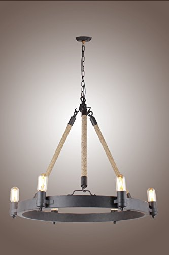 Deluxe Lamp Rancheria Falls 6 Light Candle Chandelier Antique with Rope Pendant by Deluxe Lamp