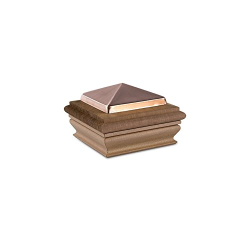 Woodway Copper Post Cap 4x4 - Small Copper Pyramid with Premium Cedar Wood Base, Newel Post Top 4 x 4, Fits Up To 3.5 x 3.5 Inch Post, 1 PC ()