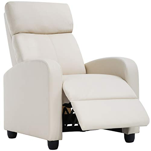 FDW Living Room Recliner Reading Chair Winback Single Sofa, Beige