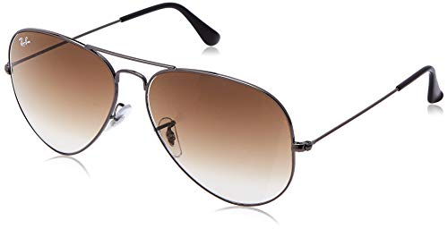 RAY-BAN RB3025 Aviator Large Metal Sunglasses, Gunmetal/Brown Gradient, 62 mm (Sunglasses Ray Aviator Fake Ban)