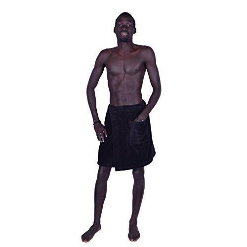 Around Closure - La Calla Men's Wrap Towel - Spa & Shower - Terry%100 Turkish Cotton - Adjustable Velcro Closure (Black)