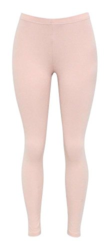 Jescakoo Ladies Solid Cotton Spandex Super Comfy Opaque Leggings Light Pink (Opaque Light)