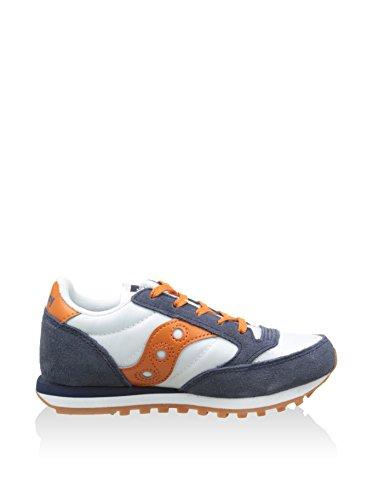 Saucony Originals Jungen Jazz Original Boys Kids Sneaker, Weiß/Marine/Orange, 32 EU