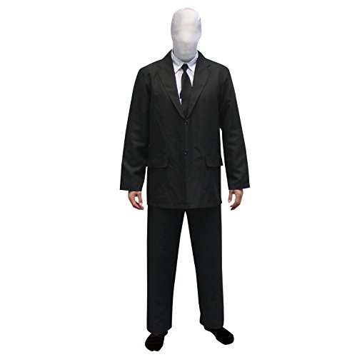 Morphsuits Men's Slenderman Costume Adult, Black and White, Small (5'10
