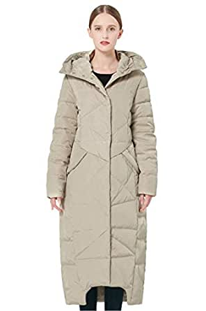 Orolay Women's Puffer Down Coat Winter Maxi Jacket with Hood (M, Beige)