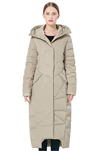 Orolay Women's Puffer Down Coat Winter Maxi Jacket with Hood Beige XL