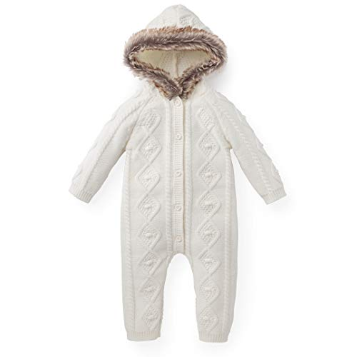 Hope & Henry Layette Faux Fur Trimmed Ivory Cable One Piece ()