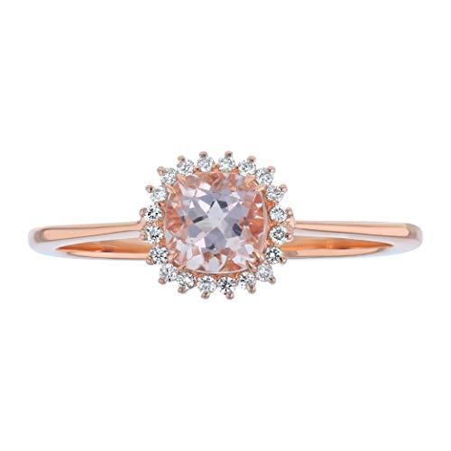 Olivia Paris 14K Rose Gold Cushion Cut Morganite Halo Set Diamond Dainty Ring (7)