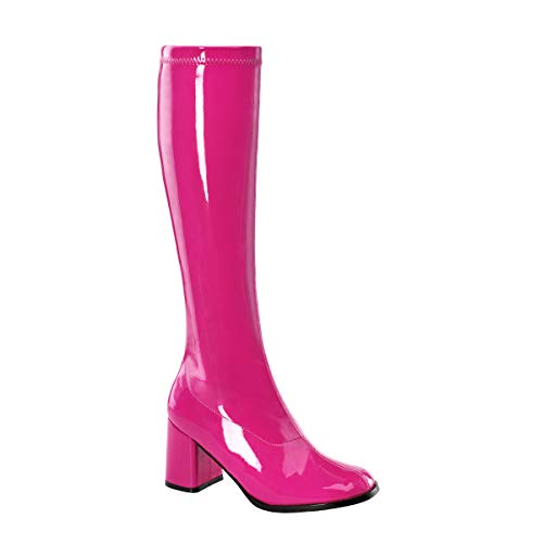 Funtasma by Pleaser Women's Gogo-300 Boot,Hot Pink Stretch Patent,9 M (Stretch Knee Boots Leather Patent)