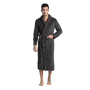 TONY & CANDICE (TM) Men's Fleece Bathrobe Long Shawl Collar Robe (Gray, XL)
