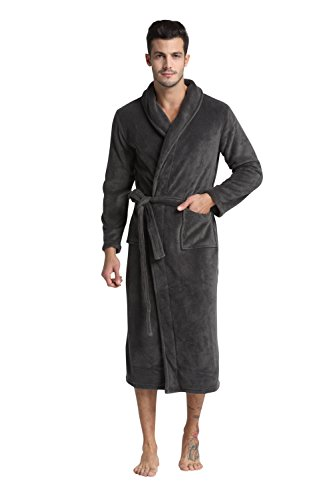 TONY & CANDICE (TM) Men's Fleece Bathrobe Long Shawl Collar Robe (Gray, L) (Male Robes)