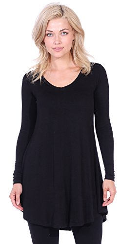 (Popana Women's Tunic Tops for Leggings Long Sleeve Shirt Plus Size Made in USA Large Black)