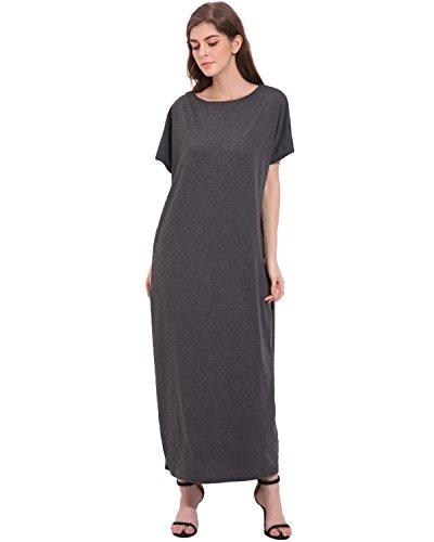 StyleDome Mujer Vestido Maxi Largo Playa Mangas Cortas Verano Cuello Redondo Cóctel Oficina Noche Gris Oscuro