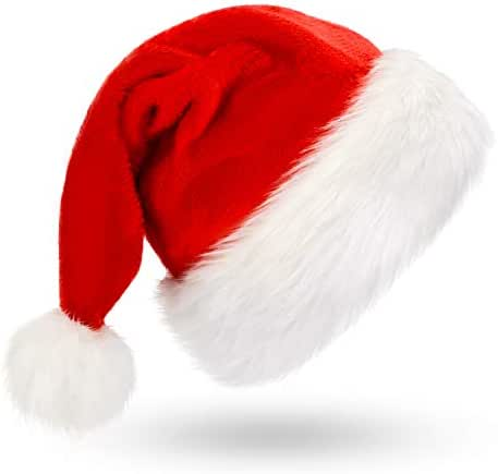 Christmas Hat, Santa Hat, Xmas Holiday Hat for Adults, Unisex Velvet Comfort Christmas Hats Extra Thicken Classic Fur for Christmas New Year Festive Holiday Party Supplies