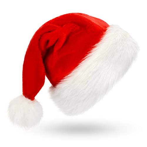 Plush Santa Hat (Christmas Hat, Santa Hat, Xmas Holiday Hat for Adults, Unisex Velvet Comfort Christmas Hats Extra Thicken Classic Fur for Christmas New Year Festive Holiday Party)