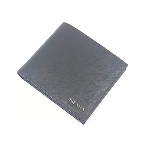 Prada Portafoglio Nero/Mercurio Saffiano Bicolo Leather Wallet 2MO513