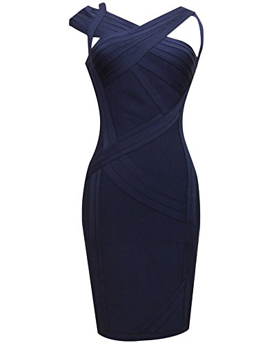 Whoinshop Women's Rayon Elegant Evening Party Bandage Dress Blue S by Whoinshop