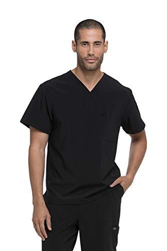 dickies EDS Essentials Men's V-Neck Scrub Top, M, Black (Eds Dickies Mens Top Scrub)