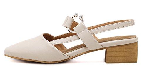 Aisun Damen Modern Kunstleder Geschlossen Slingback Metall Ringe Blockabsatz Sandale Beige