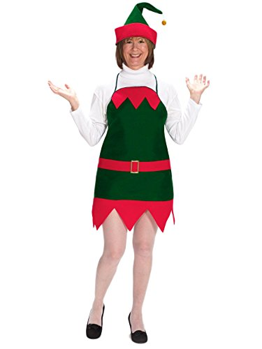 Adult Elf Holiday Apron Hat Christmas Xmas Holiday Party Outfit Costume (Elf Holiday Apron And Hat Adult)