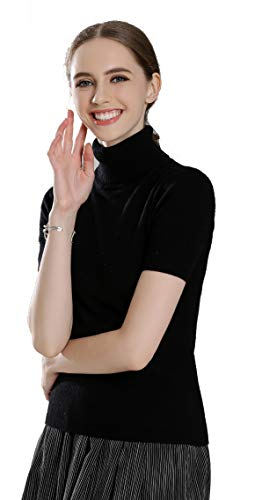 (Panreddy Women's Cashmere Knitted Turtleneck Short Sleeve Sweaters GFDX Black L)