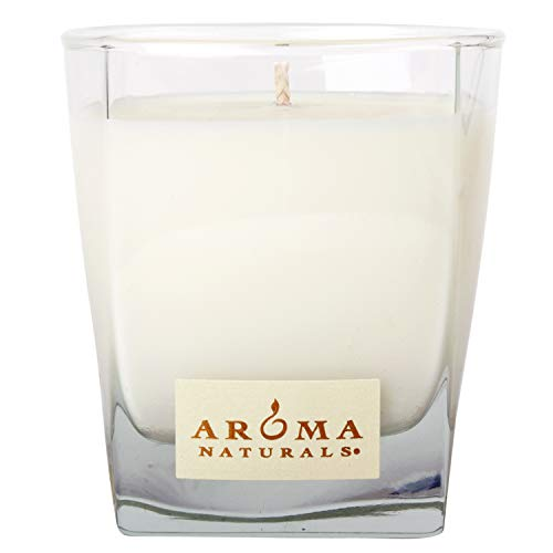 (Aroma Naturals Wish Holiday Square Glass Soy Candle, Peppermint and Vanilla, 6.8 Ounce)