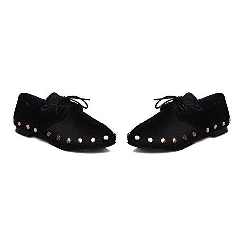 BalaMasa Womens Bandage Round-Toe Charms Pony Flats-Shoes Black XcjwSBi