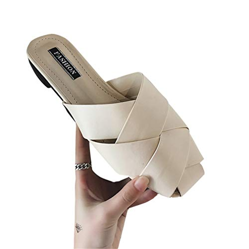 Chaussures Paresseux Femmes Creux Plat Talon Tissés Extérieur Pantoufles des Mi Porter YUCH zOwvqv