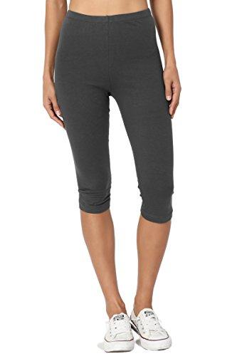 TheMogan Women's Basic Cotton Spandex Below Knee Length Leggings Ash Grey (Below Knee Leggings)