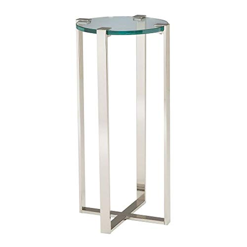 Sterling 6041037 Uptown Contemporary Metal Frame Plant Stand with Glass Top, 36-Inch, Nickel