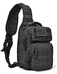 Tactical Sling Bag Pack Military Shoulder Sling Backpack Small Range Bag Day Pack Black with Patch