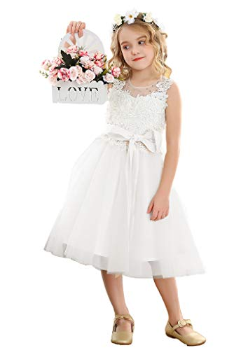 Bow Dream Lace Vintage Flower Girl's Dress Tulle Sleeveless White 4T