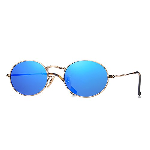 (2020Ventiventi Stainless Steel Small Sunglasses for Womens Polarized Blue Revo Glasses Shade Oval Lens Gold Metal Frames Asymmetry Temple Hipster Polygon Style for Small Face)