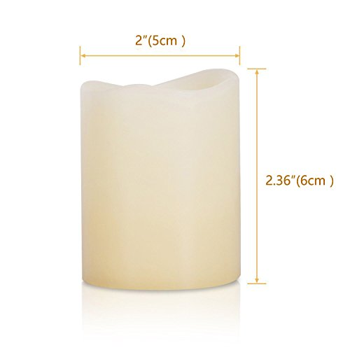 Kohree Flameless Candles Light LED Candles with Built-in Daily-Cycle Timer, Outdoor Battery Operated Led Real Wax Candles Light, Pillar Candle, Warm White Pack of 12 by Kohree (Image #7)'