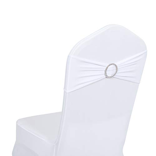 Obstal 50 PCS Spandex Stretch Chair Sashes Bows for Wedding Reception- Universal Elastic Chair Cover Bands with Buckle Slider for Banquet, Party, Hotel Event Decorations White Sashes]()