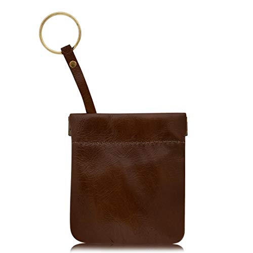 (Classic Leather Squeeze Coin Purse With Key Ring change Holder For Men, Pouch size 3.5 in X 3.25 in. high By Nabob, (String Color May Vary), Chestnut W Key)