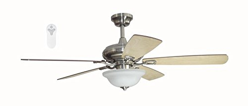 Litex TLEII52BNK5L Brushed Nickel 52-inch Ceiling Fan with Quick Connect Five Reversible Blades Light - Maple Reversible Blades