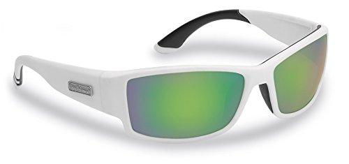 Mirror Amber (Flying Fisherman Razor Polarized Sunglasses, Matte White Frame, Amber-Green Mirror Lenses)