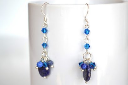 Lapis Lazuli Long Drop Silver Earring Gem Stone Handmade ...