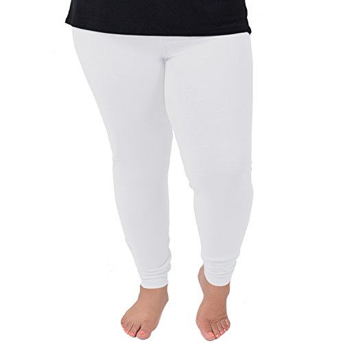 Stretch is Comfort Women's Cotton Plus Size Leggings White 3XL -