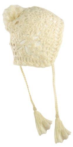 Crochet Knit Winter Trapper Hat (One Size, Ivory)