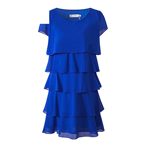 Crissiste Dresses Women Plus Size 5XL Elegant Ladies Party Cocktail Ruffles Dress Blue 5XL