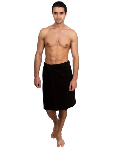 (TowelSelections Men's Wrap, Shower & Bath, Terry Velour Towel Large/X-Large Black)
