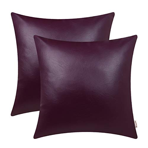 BRAWARM Pack of 2 Cozy Throw Pillow Covers Cases for Couch Sofa Bed Solid Faux Leather Soft Luxury Cushion Covers Both Sides Home Decoration 18 X 18 Inches Deep Purple (Deep Cushion Sofa)