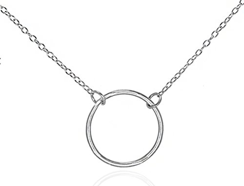 - GlitterLounge Simple Silver Circle Pendant Necklace Open Ring Design .925 Sterling Silver 16