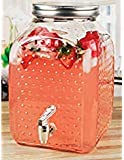 Circleware 69151 Hobnail Elegant Sun Tea Mason Jar Glass Beverage Dispenser, Fun Party Entertainment Home Kitchen Glassware Water Pitcher for Juice, Beer & Iced Punch Drinks, 1.6 Gallon Square